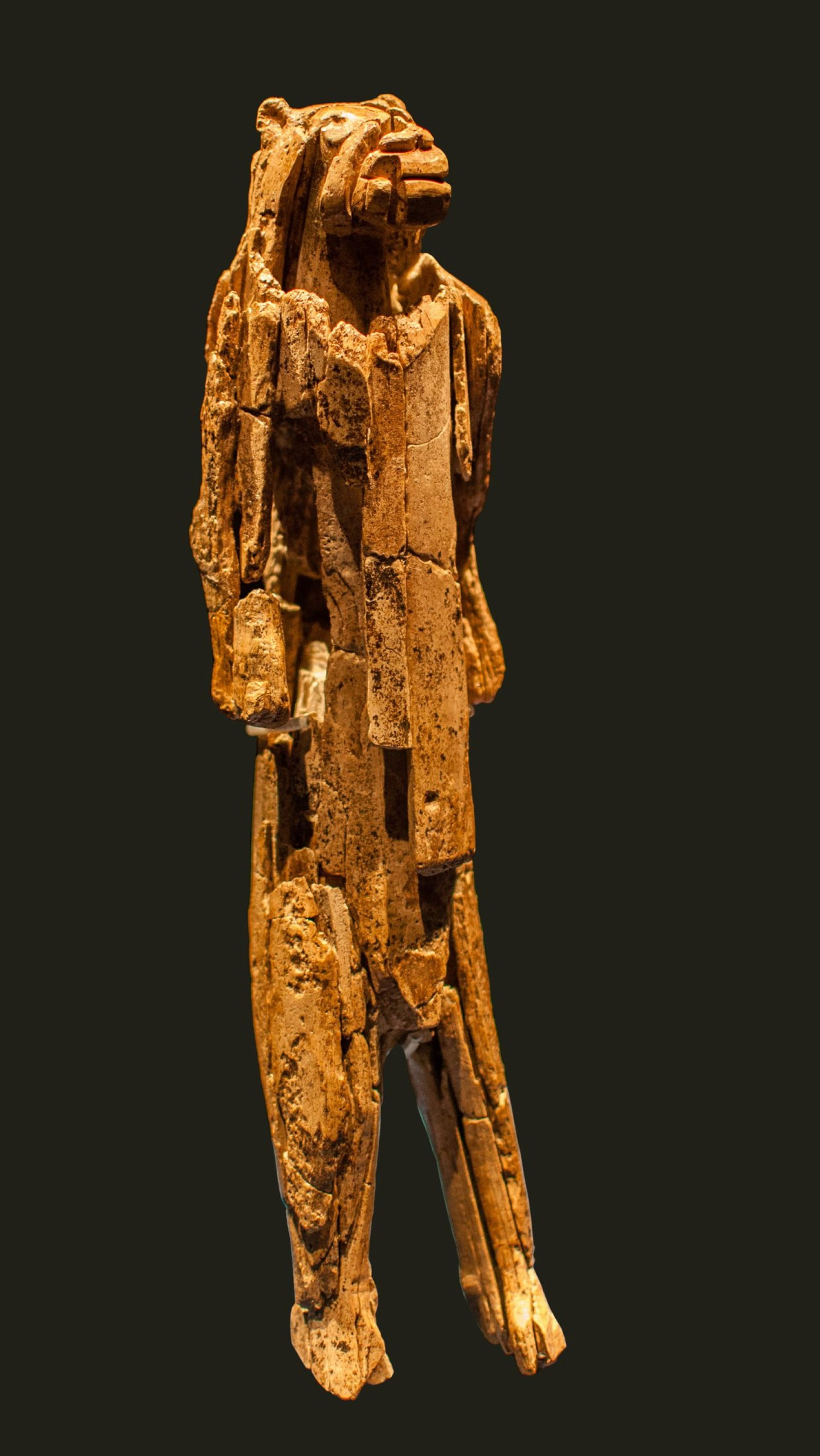Lion Man (or Lionness Woman, people are still arguing about that) from Löwenmensch, dating to about 32,000 years ago. Homo sapiens made this. Neanderthal is not known for making anything comparable.