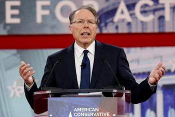 NRA CEO Wayne LaPierre speaks at the Conservative Political Action Conference at National Harbor, Maryland, U.S., February 22, 2018.