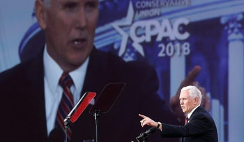 U.S. Vice President Mike Pence speaks during CPAC 2018 February 22, 2018 in National Harbor, Maryland.