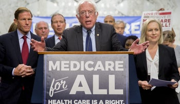 FILE PHOTO: Senator Bernie Sanders speaks during a health care bill news conference on Capitol Hill in Washington, September 13, 2017.