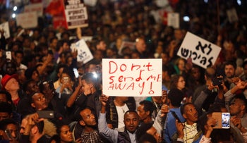 A protest in Tel Aviv against the Israel' government's plan to deport thousands of African asylum seekers, February 24, 2018.