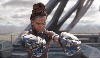 Letitia Wright in a scene from 'Black Panther.'
