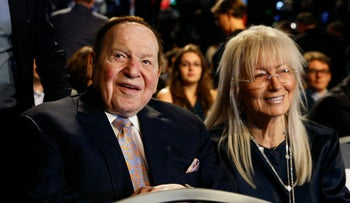 Sheldon Adelson with his wife Miriam at the presidential debate between Hillary Clinton and Donald Trump. September 26, 2016.