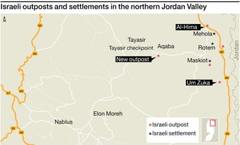 Israeli outposts and settlements in the northern Jordan Valley