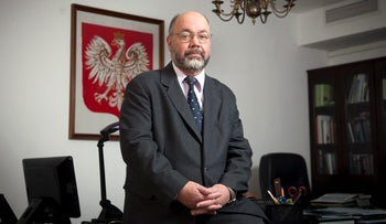 Polish Ambassador to Israel Jacek Khodorovich in his office in Tel Aviv