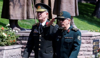 Iran's military chief Mohammad Bagheri, right, on a visit to Turkey.
