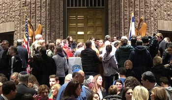More than 2,100 people attended a gun control rally at Temple B'nai Abraham in Livingston, N.J., Feb. 25, 2018. (Facebook)