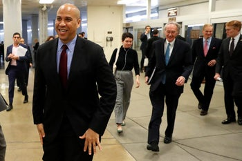 Democractic Sen. Cory Booker arriving at the U.S. Capitol in Washington for a vote, January 18, 2018.