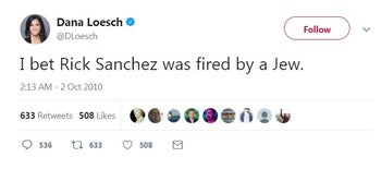 Screen shot of NRA spokewoman Dana Loesch's 2010 tweet, which has been accused of being anti-Semitic, that was deleted on February 26, 2018
