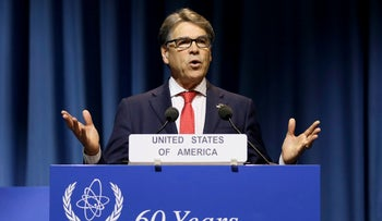 FILE PHOTO: U.S. Energy Secretary Rick Perry delivers a speech during the general conference of the International Atomic Energy Agency in Austria, September 18, 2017.