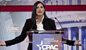 NRA Spokeswoman Dana Loesch speaking at the Conservative Political Action Conference (CPAC) in National Harbor, Maryland, on February 22, 2018.
