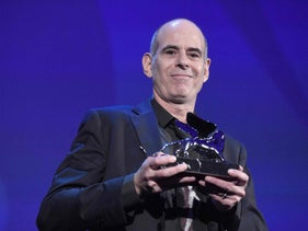 Samuel Maoz accepting the Grand Jury prize at the Venice Film Festival for 'Foxtrot.'