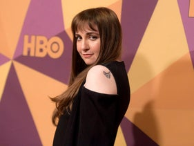 Lena Dunham arrives at the HBO Golden Globes afterparty at the Beverly Hilton Hotel, Jan. 7, 2018, in Beverly Hills, California.