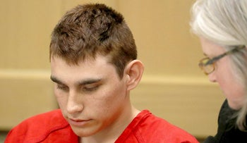 In this Feb. 19, 2018 file photo, Nikolas Cruz, accused of murdering 17 people in the Florida high school shooting, appears in court for a status hearing in Fort Lauderdale, Fla