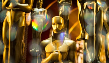 Oscar statues backstage at the Academy Awards.