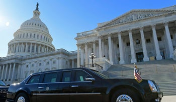 FILE PHOTO: One of the presidential limousines for President Donald Trump is parked on Capitol Hill in Washington, November 28, 2017.