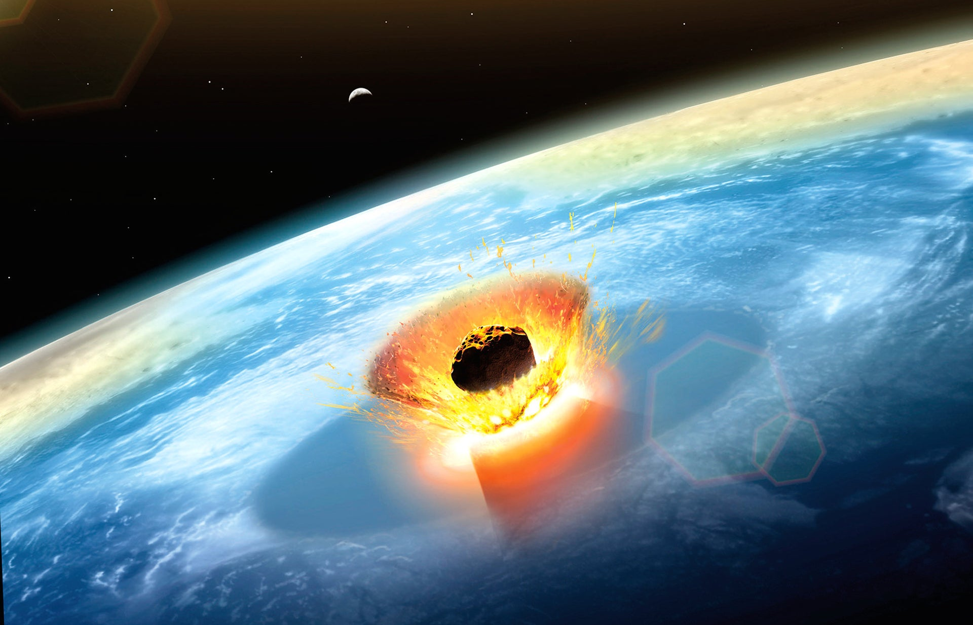 Illustration of a large asteroid colliding with Earth on the Yucatan Peninsula, in Mexico.