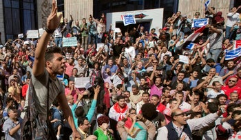 Egyptians during a protest against the decision to hand over control of two strategic Red Sea islands to Saudi Arabia, Cairo, Egypt, Friday, April 15, 2016