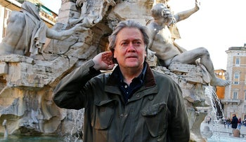 Steve Bannon poses in Piazza Navona in Rome, Italy, March 2, 2018.