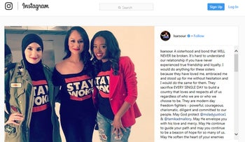 Image from Linda Sarsour's Instagram account where she defends Tamika Mallory.