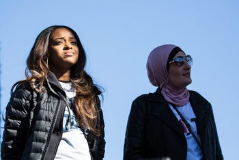 Women's March Tamika Mallory, left, and Linda Sarsour attending an anniversary event in Las Vegas, Nevada, January 21, 2018.