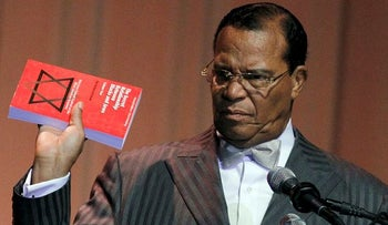 "In this file photo, Louis Farrakhan displays the book, ""The Secret Relationship Between Blacks and Jews,"" during his speech Friday, March 25, 2011 at Jackson State University in Jackson, Miss."