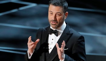 Host Jimmy Kimmel opening the 90th Academy Awards in Los Angeles, March 4, 2018.
