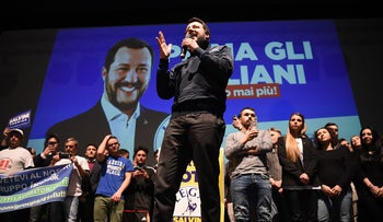 Far-right Northern League leader Matteo Salvini gives a speech during a rally organized by Lega (Northern League) in Teatro Nuovo in Turin. February 28, 2018