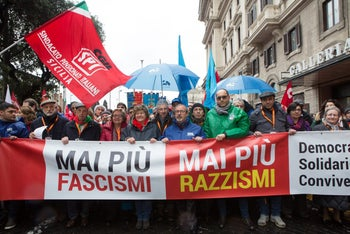 Anti-fascism rally in Rome, Italy, after the election campaign sparked street battles between far-left and far-right activists. Feb. 24, 2018