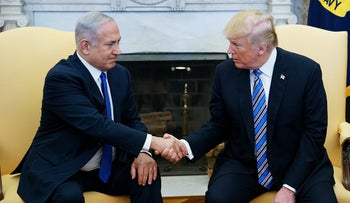 U.S. President Donald Trump shakes hands with Prime Minister Benjamin Netanyahu in the Oval Office of the White House, Washington, March 5, 2018.