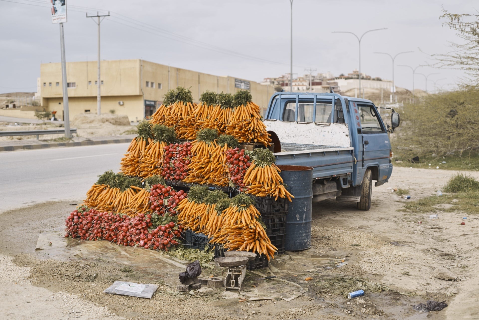 Roadside vegetable stand on the other side of the Jordan.