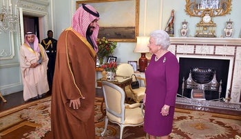 Britain's Queen Elizabeth greets Mohammed bin Salman, the Crown Prince of Saudi Arabia, during a private audience at Buckingham Palace in London, Britain, March 7, 2018