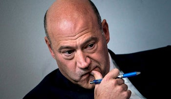 In this file photo taken on September 28, 2017 National Economic Council Director Gary Cohn waits to speak about tax reform during a briefing at the White House in Washington, DC