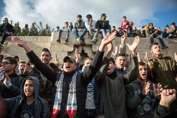 Palestinian protesters demonstrate against U.S. President Donald Trump's December 6 announcement that he recognizes Jerusalem to be Israel's capital.