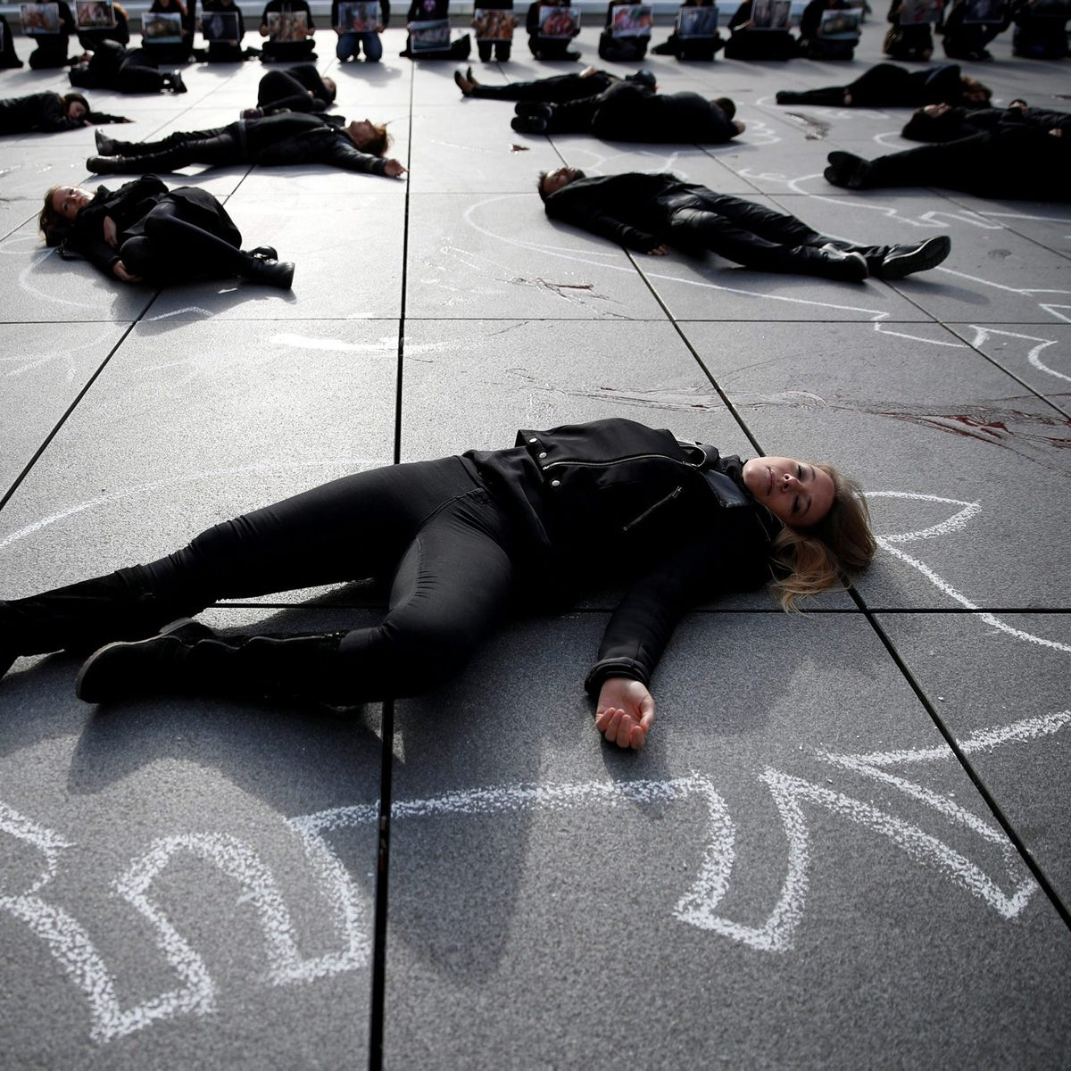 Supporters of PETA lie next to the Centre Pompidou in Paris, in 2017.