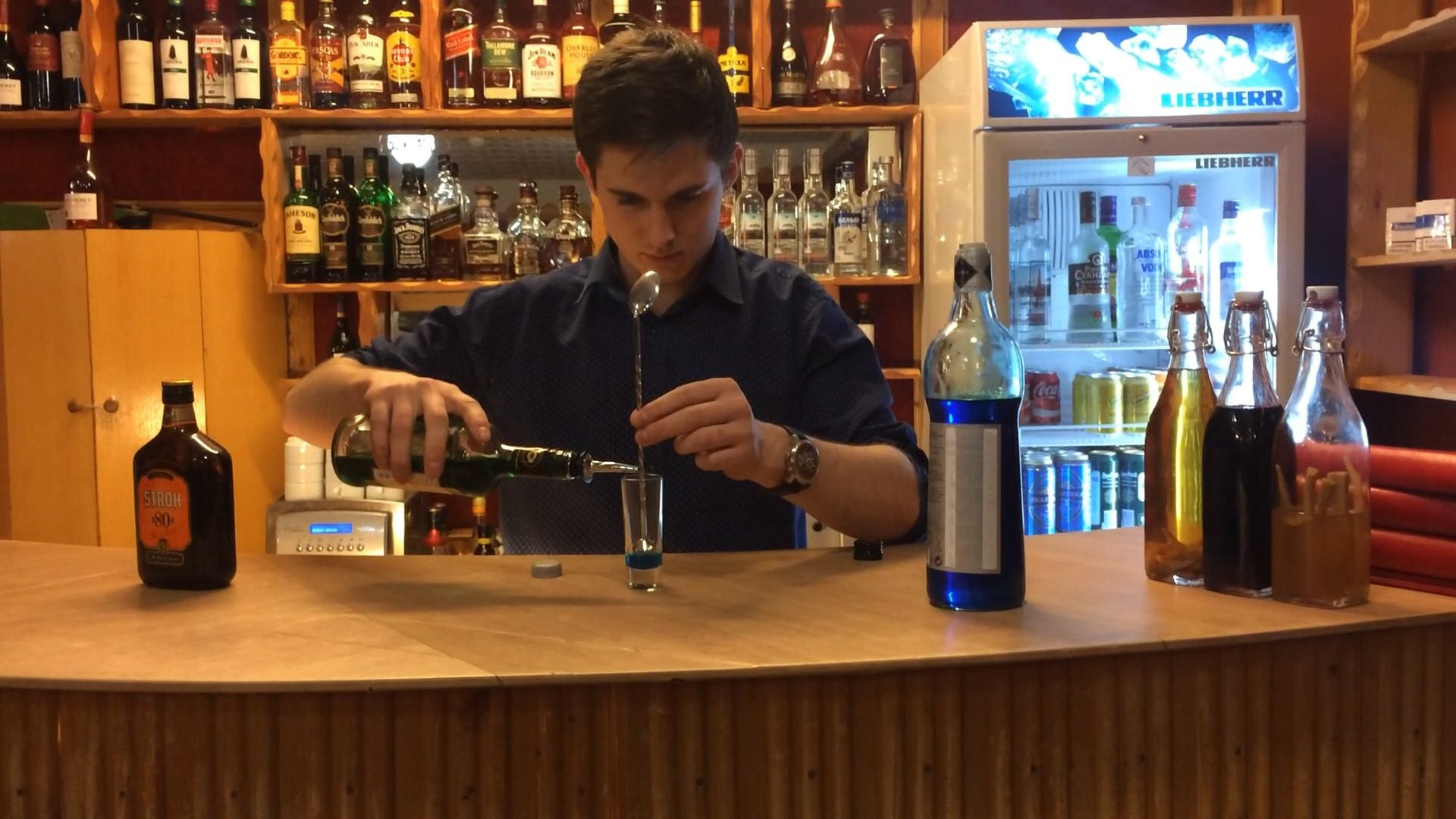 """Tom Cruise,"" the bartender at the Pyramiden bar."