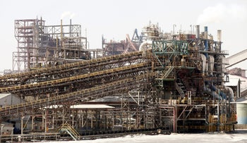 The potash fertilizer manufacturing plant stands at ICL Fertilizer's Dead Sea Works, part of Israel Chemicals Group, on the Dead Sea, May 6, 2013.