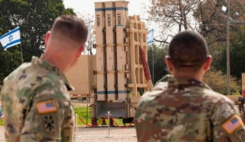 "U.S. soldiers stand near a David's Sling, an Israeli anti-missile system during a joint Israeli-US military exercise ""Juniper Cobra"" at the Hatzor Airforce Base, March 8, 2018."