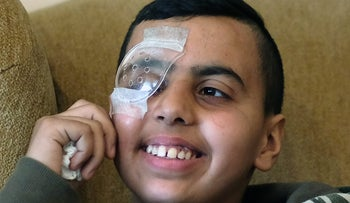 Mohammed Nubani, a Palestinian teen who was shot in the eye by Israeli troops during a demonstration in the West Bank.
