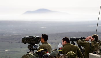 Israel forces on the Israeli Golan Heights keep a watchful eye on the events in Syria. February 2018