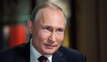 Russian President Vladimir Putin during his interview with NBC network anchor Megyn Kelly at the Kremlin in Moscow, March 1, 2018.