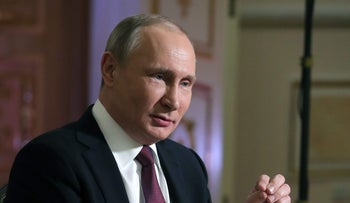 Russian President Vladimir Putin attends an interview with NBC's journalist Megyn Kelly in Kaliningrad, Russia March 2, 2018. Picture taken March 2, 2018. Sputnik/Alexei Druzhinin/Kremlin via REUTERS ATTENTION EDITORS - THIS IMAGE WAS PROVIDED BY A THIRD PARTY.