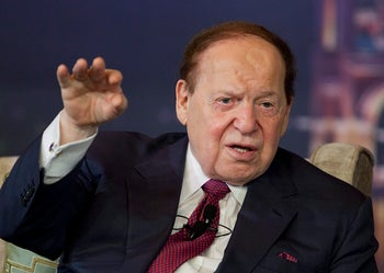 Sheldon Adelson, chairman and chief executive officer of Las Vegas Sands Corp., speaks at a news conference during the opening of the Sands Cotai Central resort in Macau, China. April 11, 2012