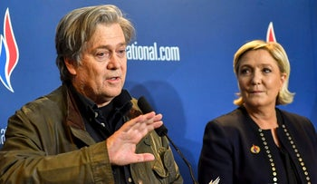 Former White House strategist Steve Bannon holding a press conference with National Front party leader Marine Le Pen, at the party congress in Lille, France, March 10, 2018.
