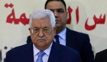 Palestinian President Mahmoud Abbas attends a meeting of the Fatah Revolutionary Council in Ramallah, March 1, 2018.