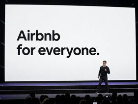 Airbnb co-founder and CEO Brian Chesky speaking in San Francisco, February 22, 2018.