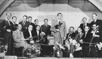 A string orchestra in the Westerbork transit camp, the Netherlands, during World War II.