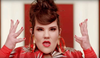 "Netta Barzilai in the clip for her Eurovision song ""Toy."""