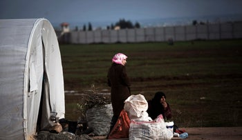 Displaced Syrian women in the Azaz camp for displaced people, north of Aleppo province, Syria, February 21, 2013