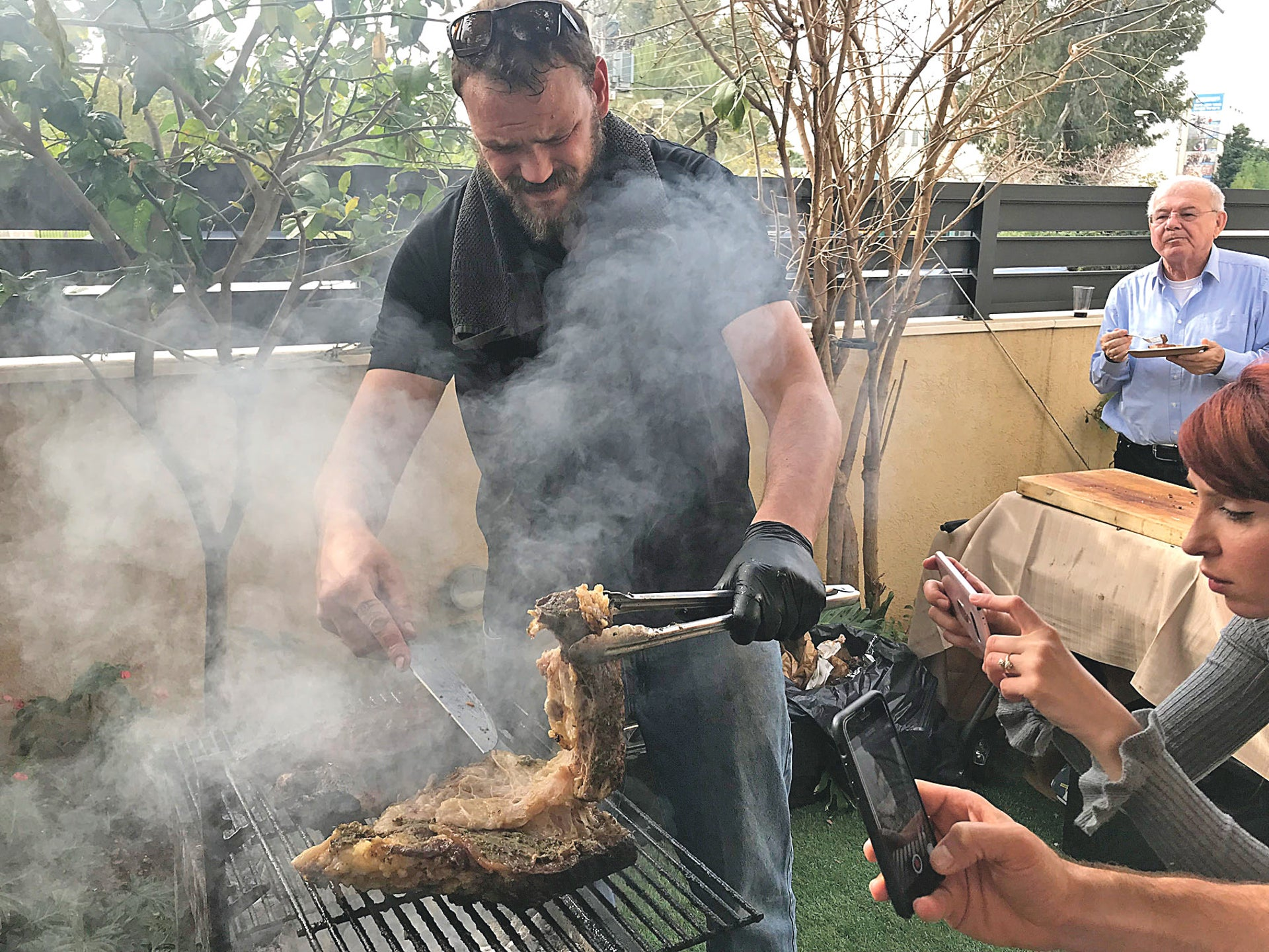 A carnivore mans the barbecue.